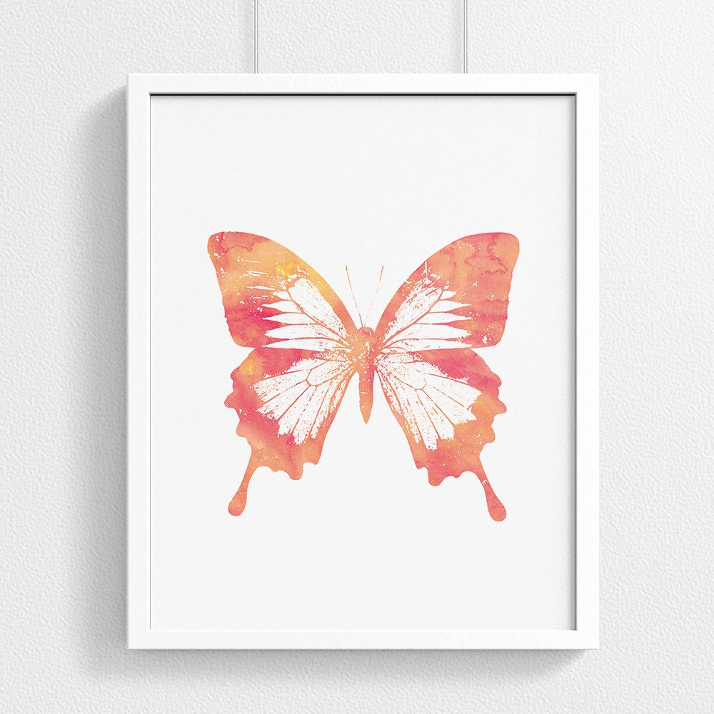 Coral Watercolor Monarch Butterfly