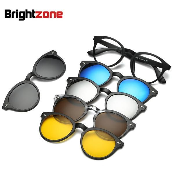 2849c82420 FuzWeb Brightzone Retro 5 +1 Set Glasses Unisex Light Rectangle Mirror  Polarized Sunglasses Clip