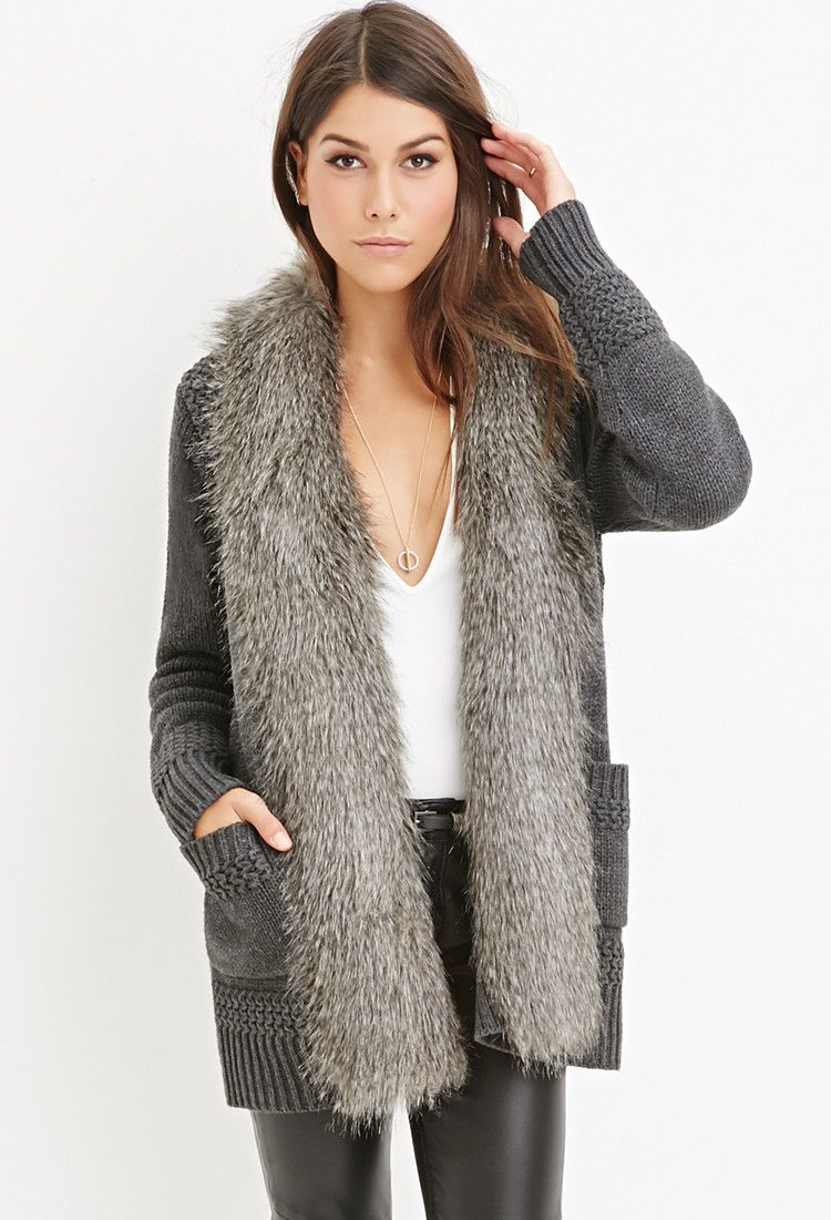 contemporary faux furtrim cardigan jumpers cardigans