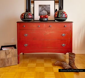 "Antique Dresser painted with Annie Sloan Chalk Paint in ""Emperor's Silk"""