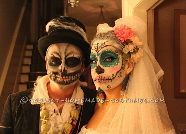 Awesome Homemade Dia De los Muertos Couple Costume… Enter Coolest Halloween Costume Contest at http://ideas.coolest-homemade-costumes.com/submit/