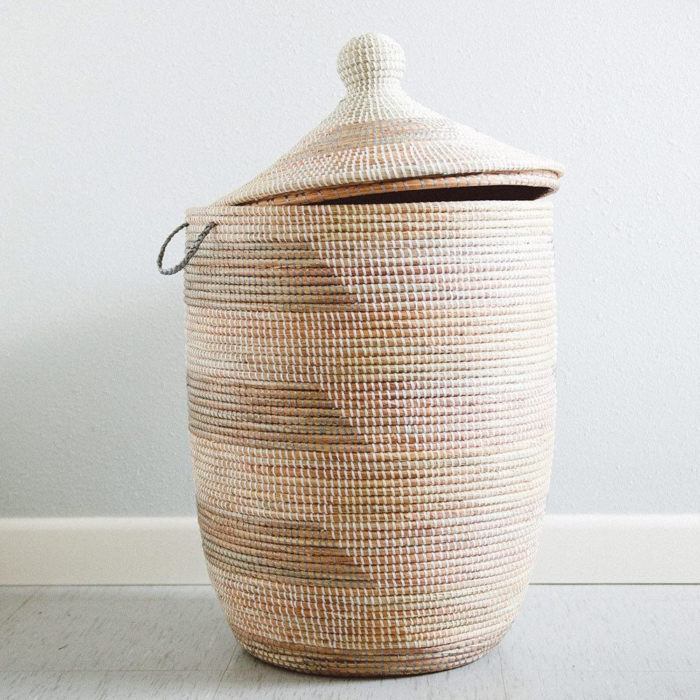 Woven Laundry Clothes Large Hamper in Grey & Cream. An alternative ...