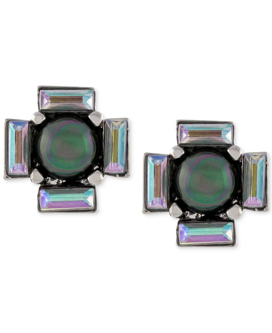 Vince Camuto Silver-Tone Black Imitation Pearl and Baguette Stud Earrings