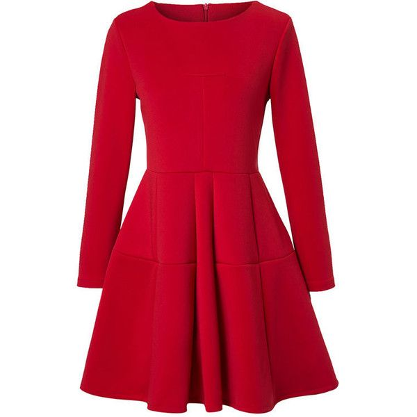 a977e9190f39 Round Neck Plain Long Sleeve Skater Dress ( 27) ❤ liked on Polyvore  featuring dresses