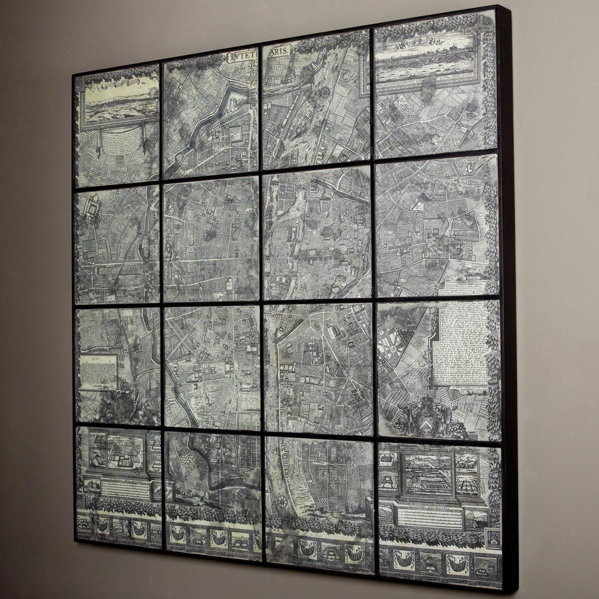 48x48 Map Of Paris On Antique Mirror Wall Art Antique Mirror