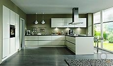 Nobilia-Musterküche Moderne grifflose L-Küche mit Halbinsel ... | {Moderne küchen mit halbinsel 4}