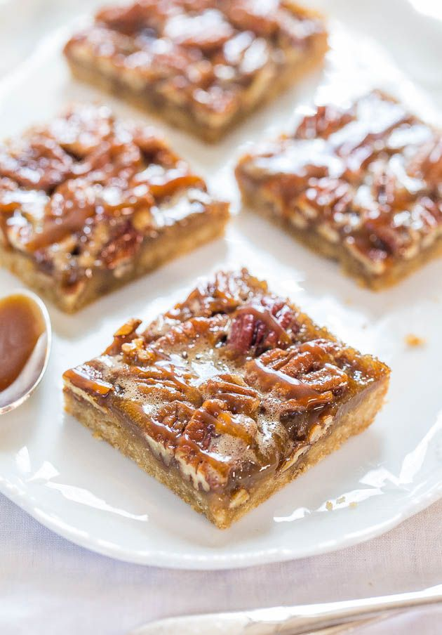 15 MAPLE SYRUP TREATS...Salted Caramel Maple Pecan Pie Bars #recipe #sweet #syrup #bars #dessert #treat