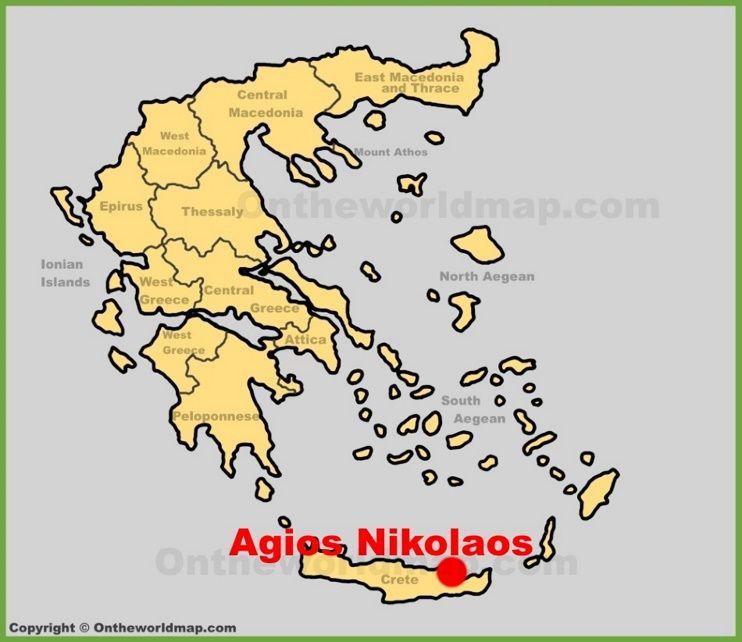 Agios Nikolaos location on the Greece map Maps Pinterest City