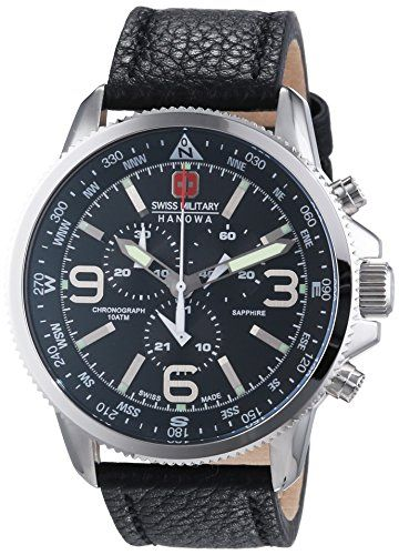 Swiss Military Arrow Men's Quartz Watch with Black Dial Chronograph Display and…