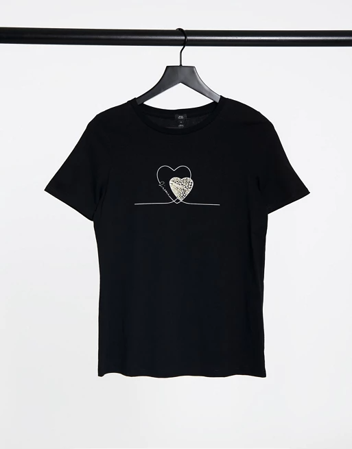 River Island Double Heart Graphic T Shirt In Black In 2020 T Shirt Shirts Mens Tops