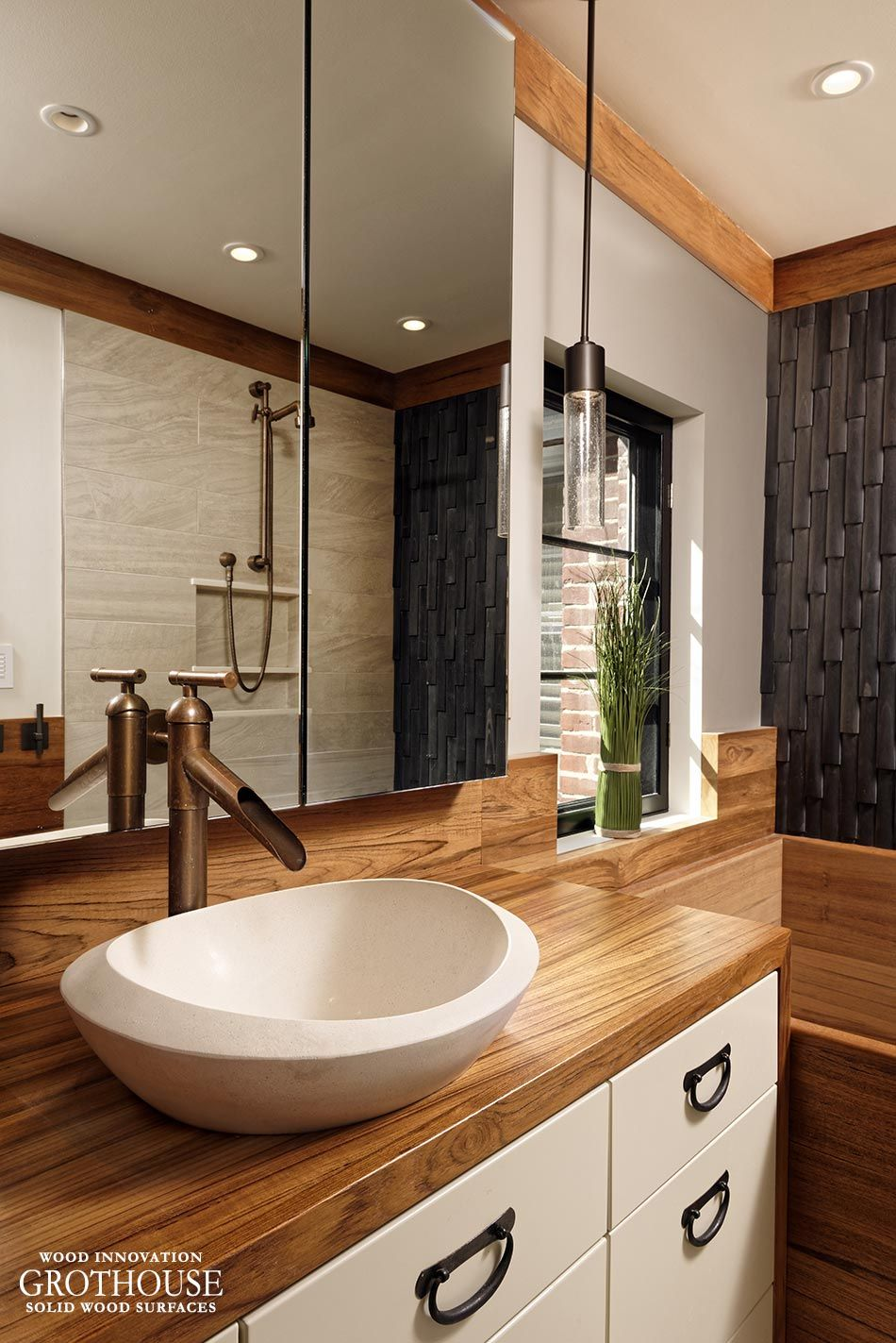 Pin by grothouse on bathrooms with wood countertops in - Custom bathroom countertops with sink ...