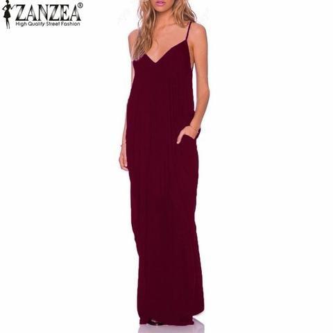 1d43f3a99a ZANZEA 2018 Summer Vestidos Women Dress Boho Strapless V-neck Sleeveless  Baggy Long Maxi Dresses Sexy Beach Sundress Robe Femme