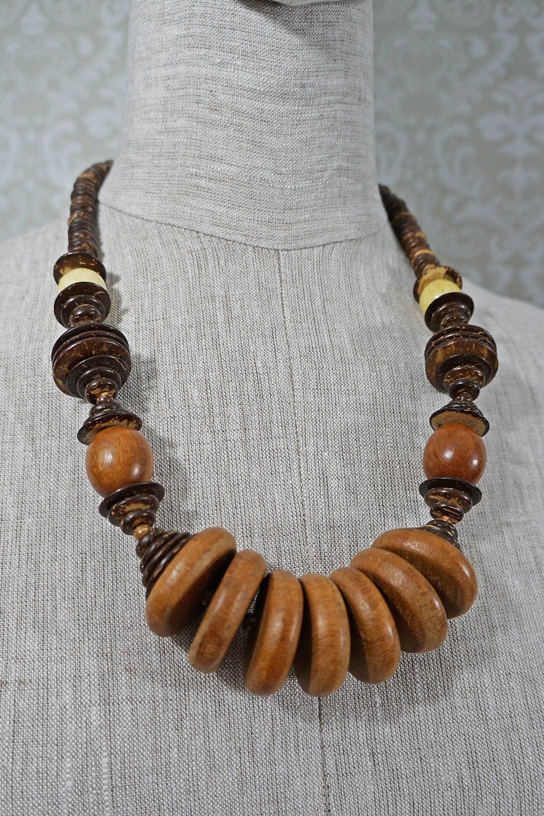 Chunky wooden bead necklace natural beads dressing up jewelry
