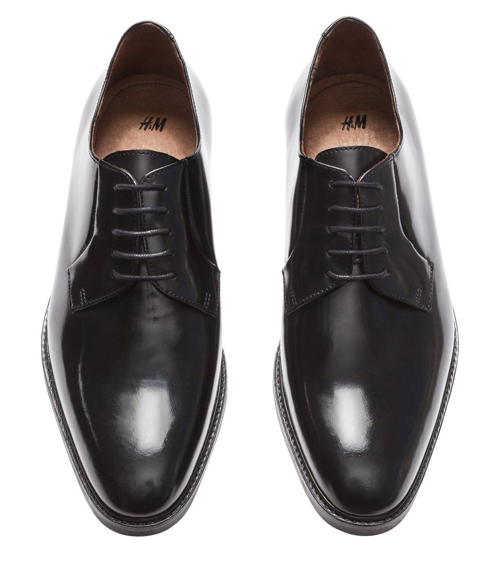 Black derby shoes in premium-quality leather, with open laces & rubber  soles.
