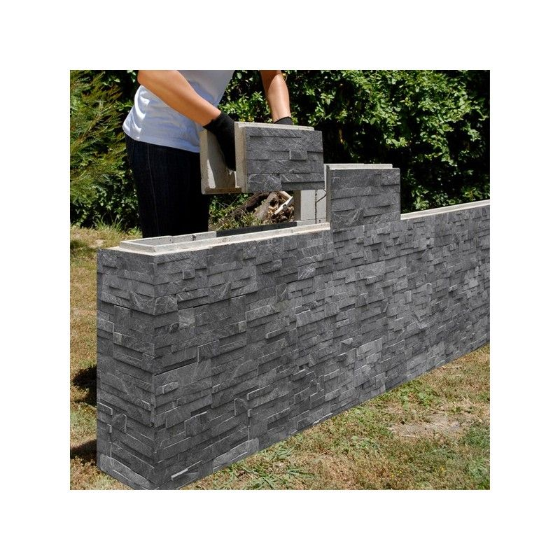 Stack Stone Finish On A Diy Retaining Wall Block For Garden Walls Outdoor Bbq Comptemporary
