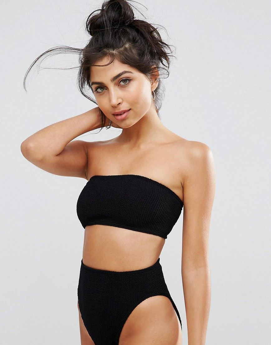 128c3873f10a6 DESIGN mix and match crinkle bandeau bikini top | Products | Black ...