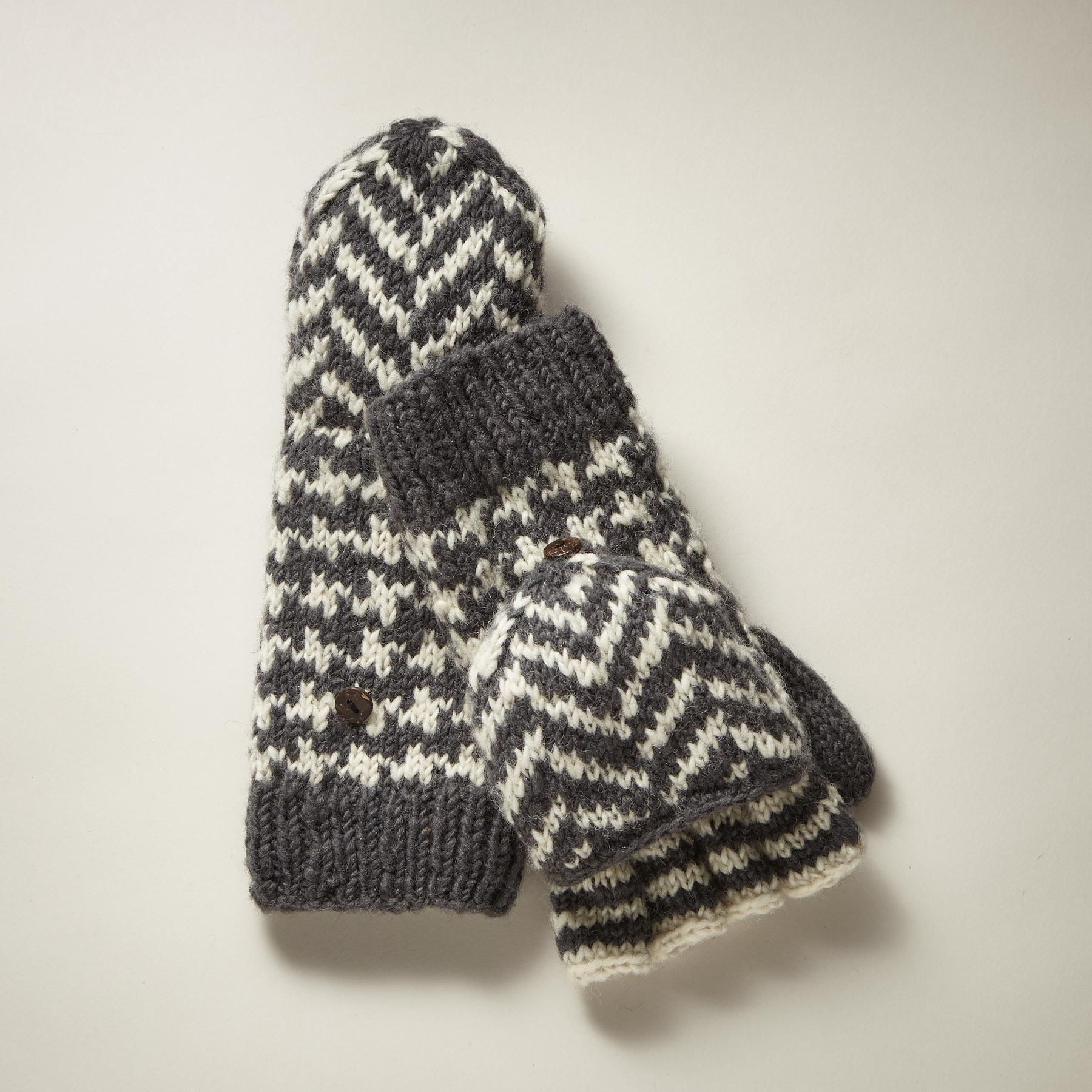 FIONA CONVERTIBLE MITTENS--Handcrafted, merino wool convertible mittens in a fresh mix of classic patterns. Fleece lined. Merino wool. Hand wash. Imported. Exclusive. One size fits most adults.