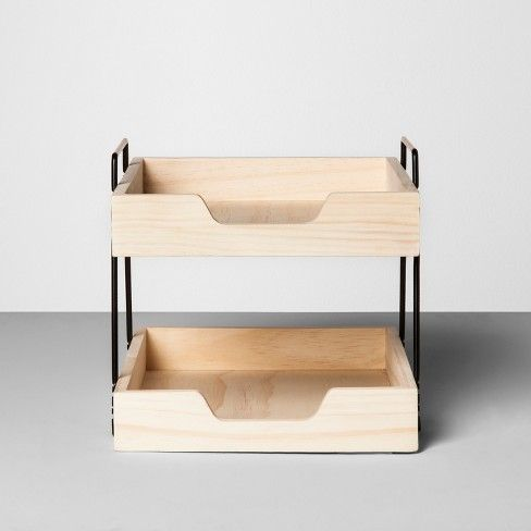 Wooden Paper Tray 2 Tier Hearth Hand With Magnolia Target 25 Paper Tray Hearth Hand With Magnolia Desk Organizer Tray