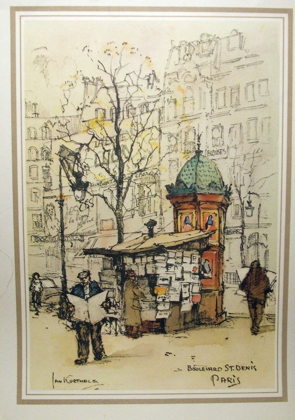 Color art printing anchorage - Jan Korthals Vintage 1950 S Print Of A Paris Street By Donald Art Co