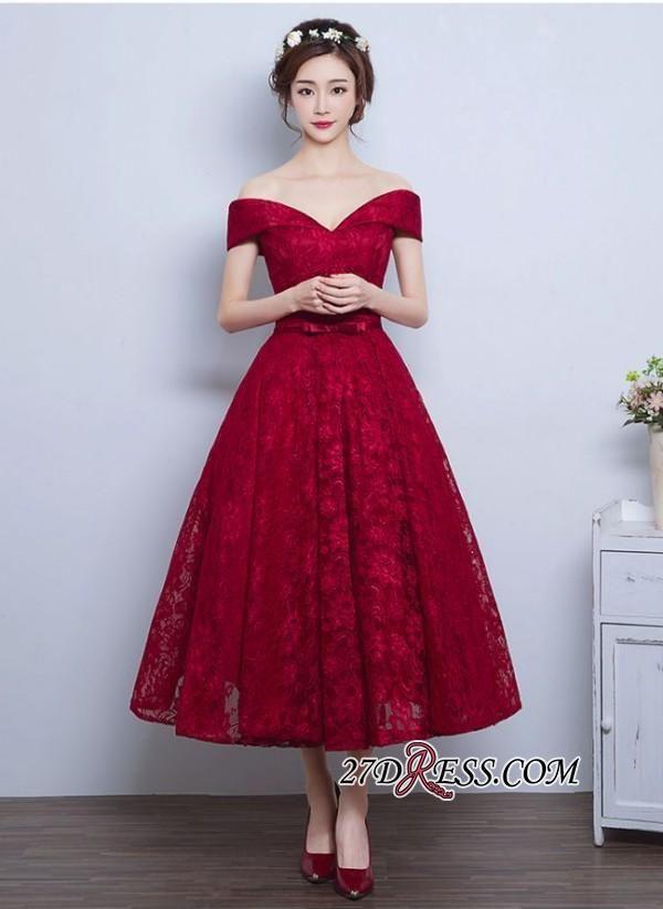 2017 Burgundy Off The Shoulder A Line Lace Vintage Tea Length Prom Dresses High Quality Wedding Evening Bridesmaid