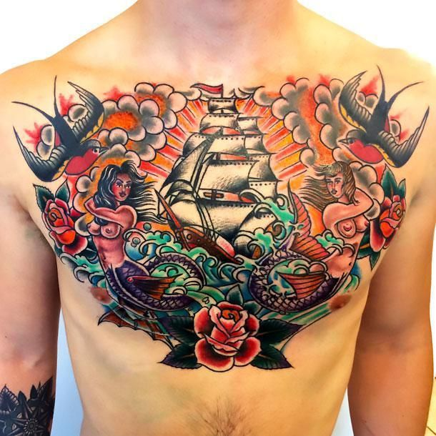 Tattoo Traditional Neo Cloud Chest