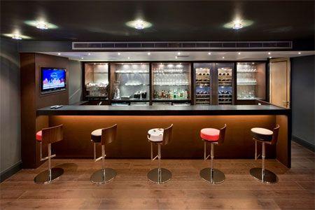 Bar de salon design marron et noir salon pinterest for Bar dans salon