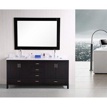 "$1799  Design Element London 72"" Espresso Double sink vanity set - Espresso | Free Shipping"