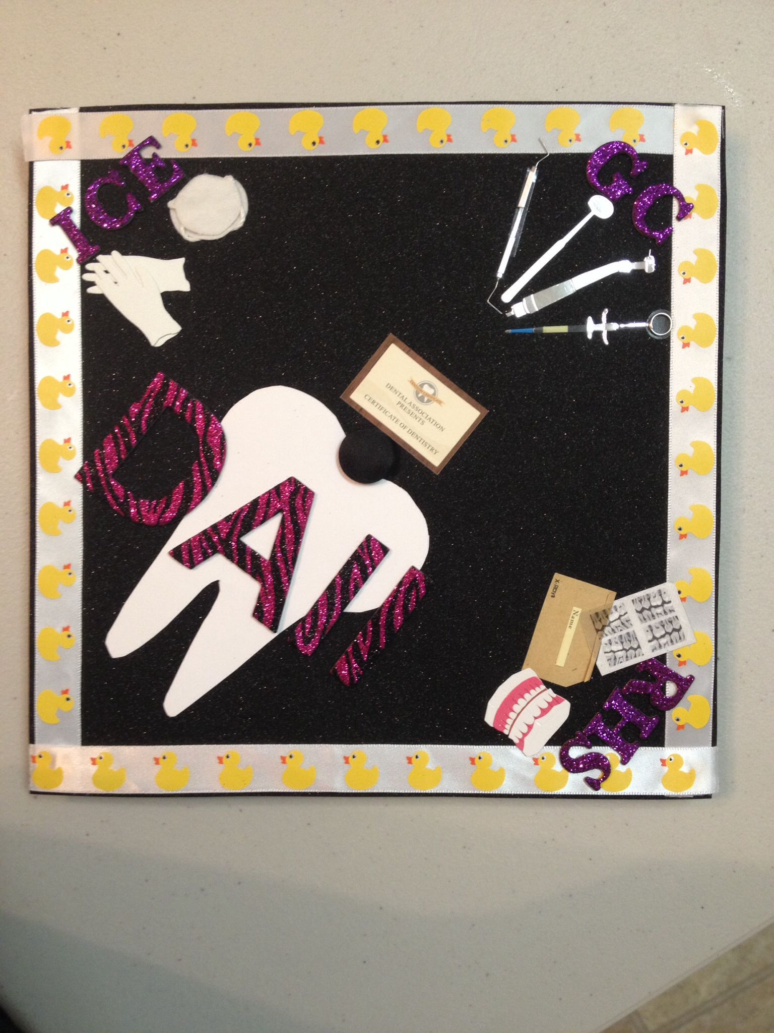 My graduation cap celebrating graduating from the dental assistant program.