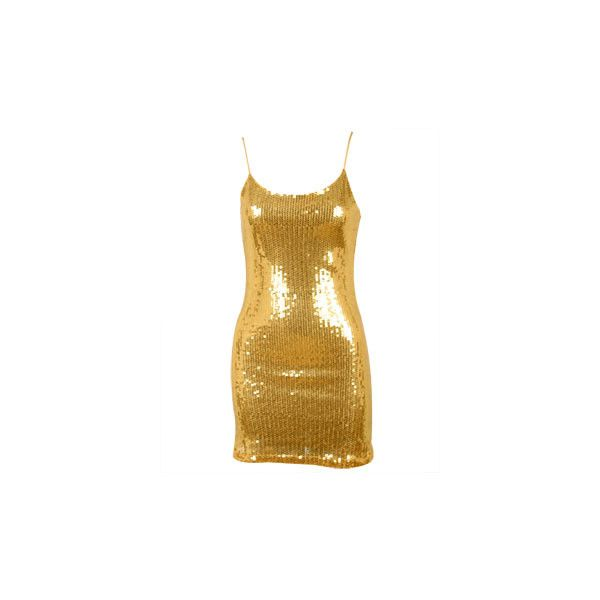 Sequin Spaghetti Strap Dress - A Product Page ❤ liked on Polyvore featuring dresses, gold, sequin embellished dress, brown sequin dress, sequin cocktail dresses, gold sequin cocktail dress and spaghetti strap cocktail dress