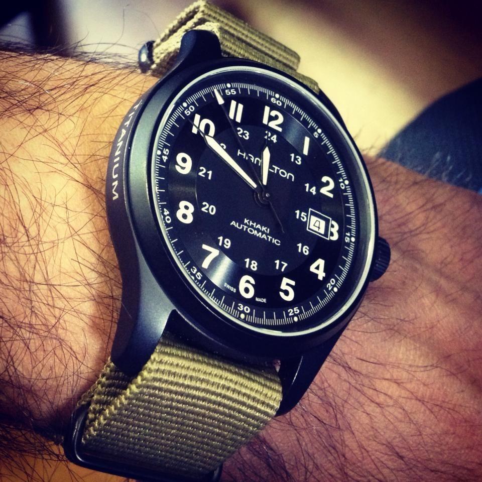 Hamilton Watch — Titanium Khaki Auto Mens watches