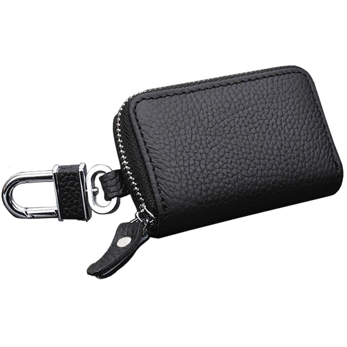 New Smart Key Holder Cover Remote Car Logo Key Chain Bag Leather Fob Zipper Case