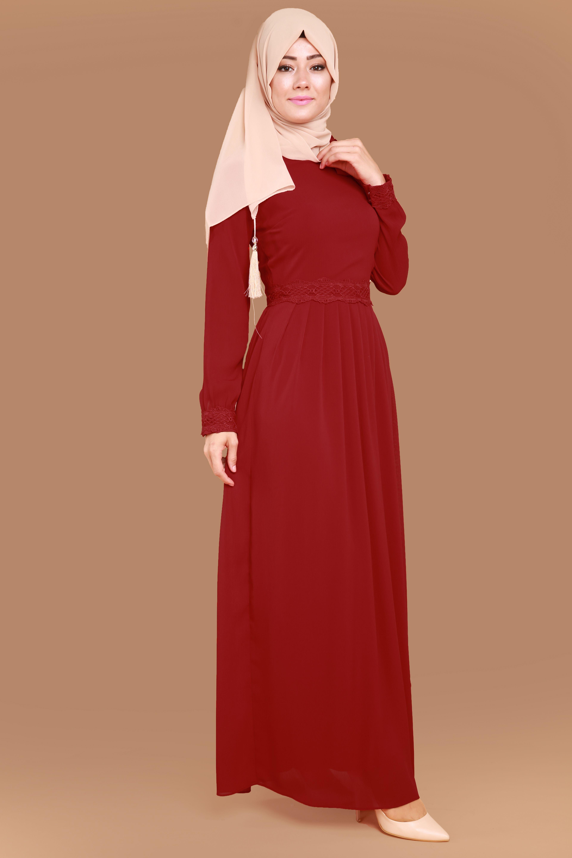 5b6afa728bda0 Yakası Fularlı Pileli Elbise Bordo Ürün Kodu: BNM00195--> 119.90 TL ...