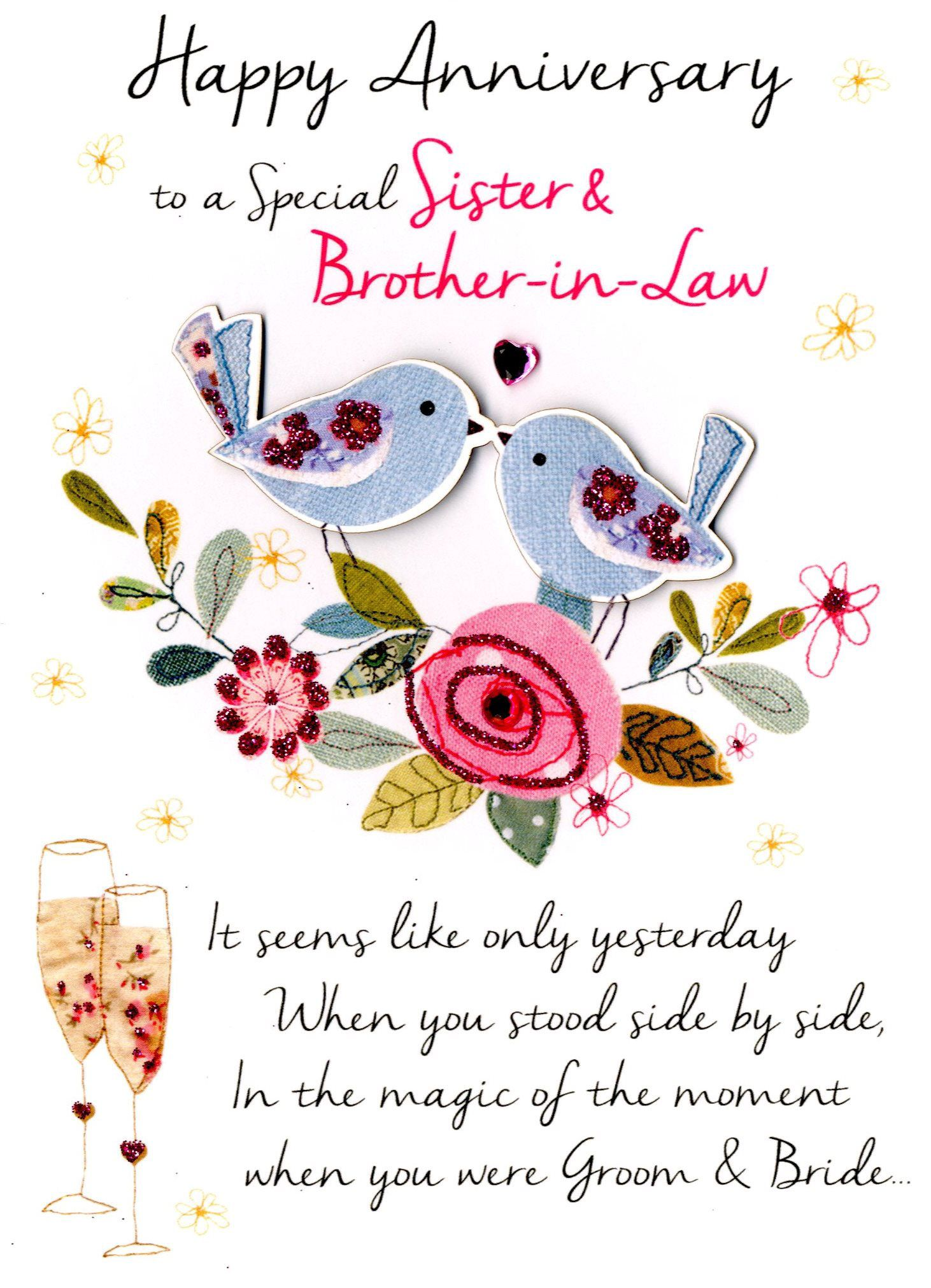 sister brother in law anniversary greeting card 2019
