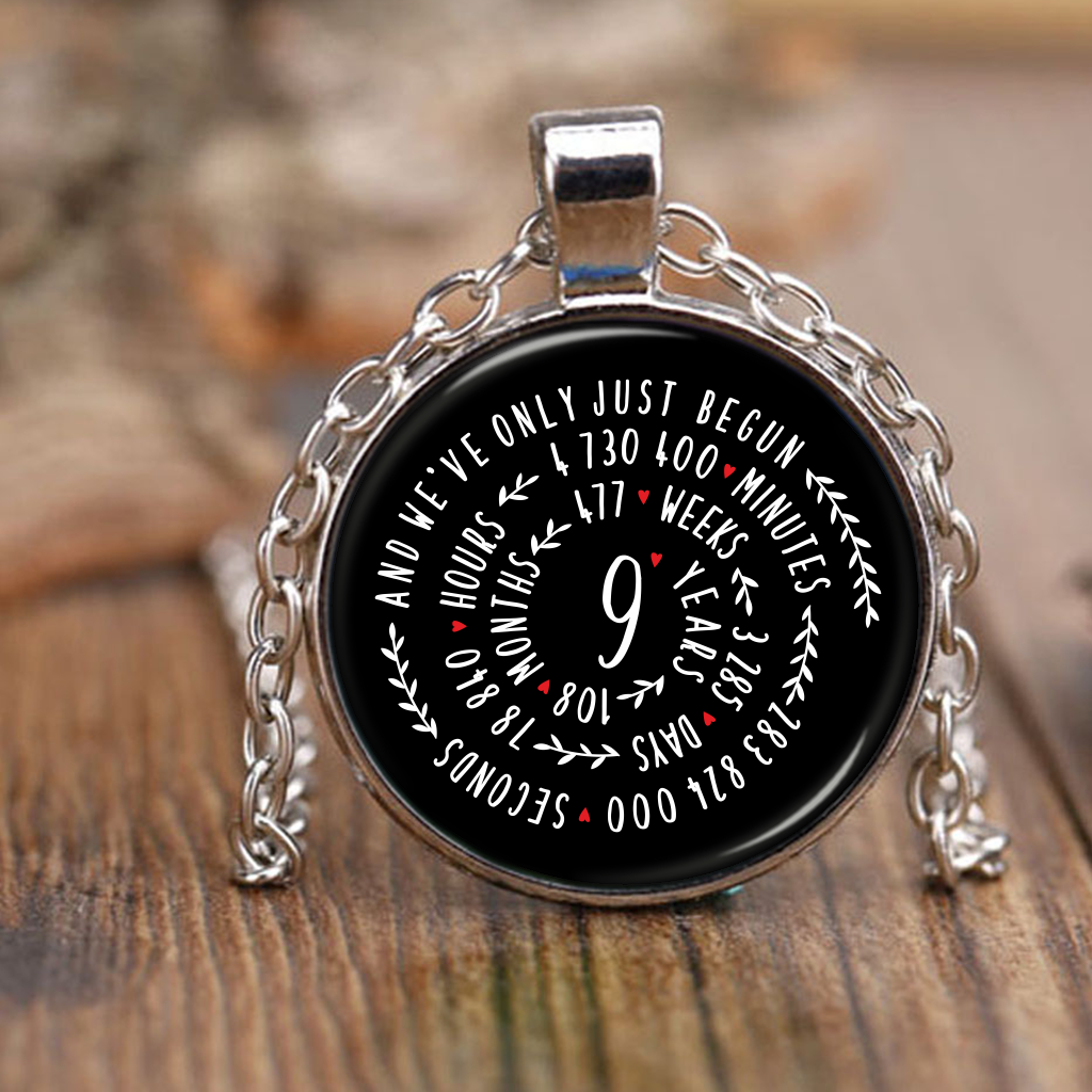 9th Wedding Anniversary Graphic Design Necklace Gift for