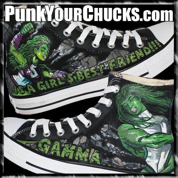 2b05fe1d8c7b Gamma is a girls best friend - She Hulk Custom Converse Available to buy  now  shehulk  hulk  Marvel  comics