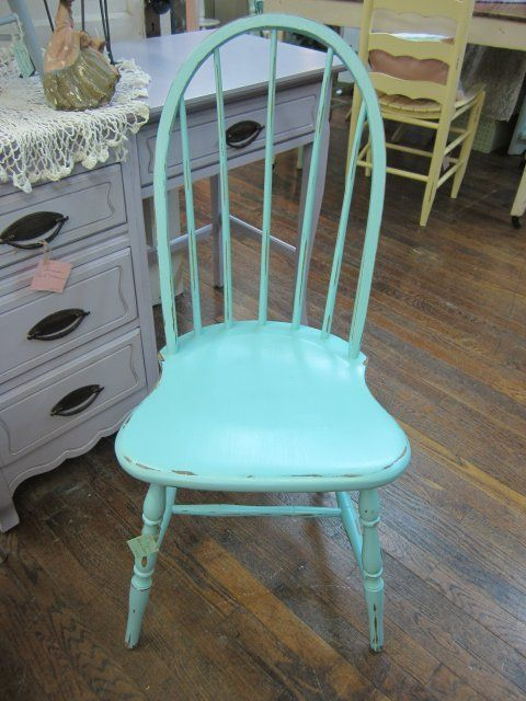 Hand Painted Beachy Blue Windsor Chair Shabby Chic Distressed FREE Shipping