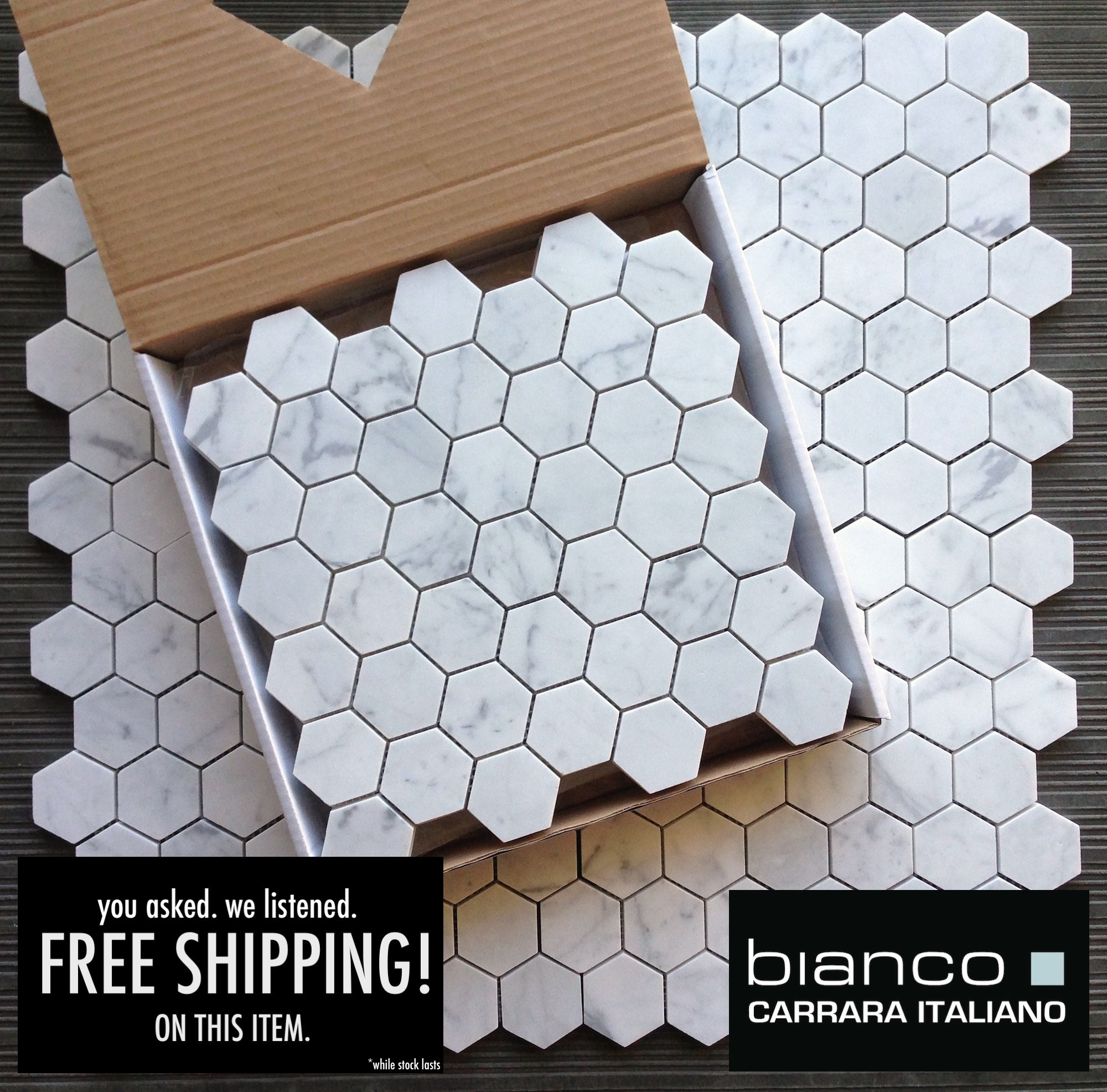 11 25 A Square Foot And Free Shipping Carrara Bianco 2 Hexagon Marble Mosaic Tile
