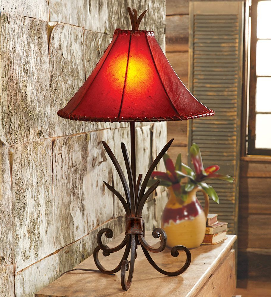 Iron Agave Table Lamp With Rawhide Shade Western Decor Western Lamps Rustic Table Lamps