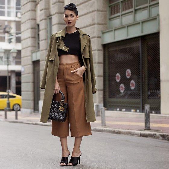 Konstantina Tzagaraki - Trench Coat, Crop Top, Christian Dior Bag, Pants - If u don't know where you're going,any road'll take u there