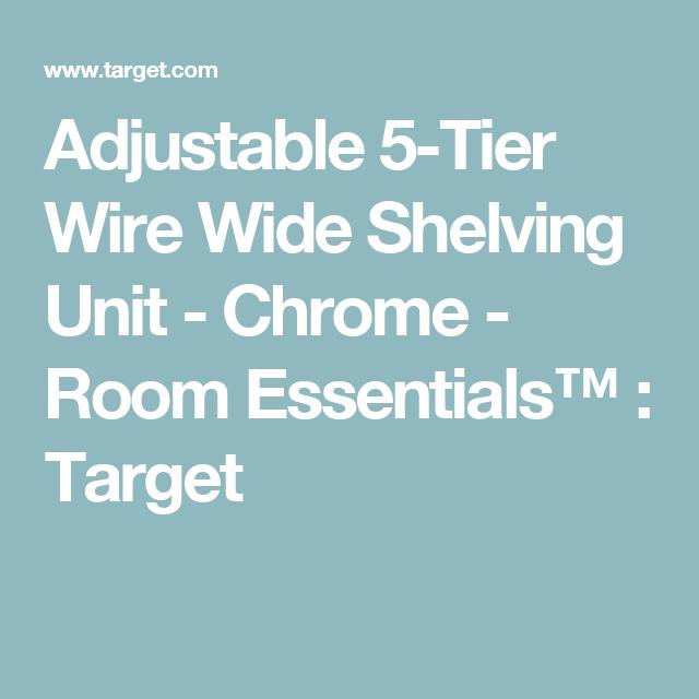 Adjustable 5 Tier Wire Wide Shelving Unit Chrome Room Essentials | Adjustable 5 Tier Wire Wide Shelving Unit Chrome Grey Room