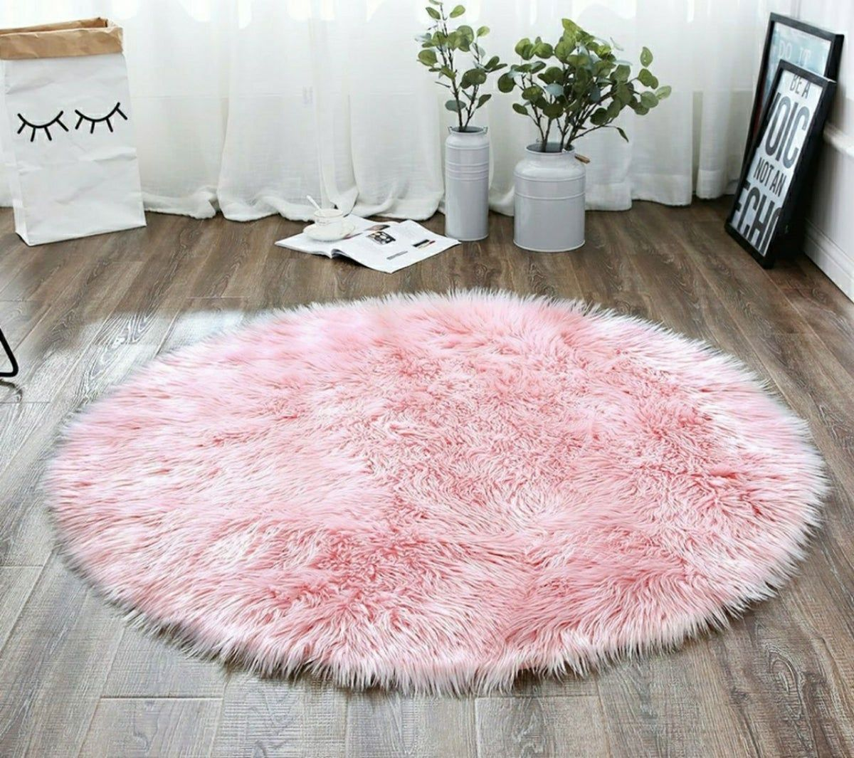 Faux Fur Pink 3 Feet Round Rug Pink Fur Rug Rugs Round Rugs