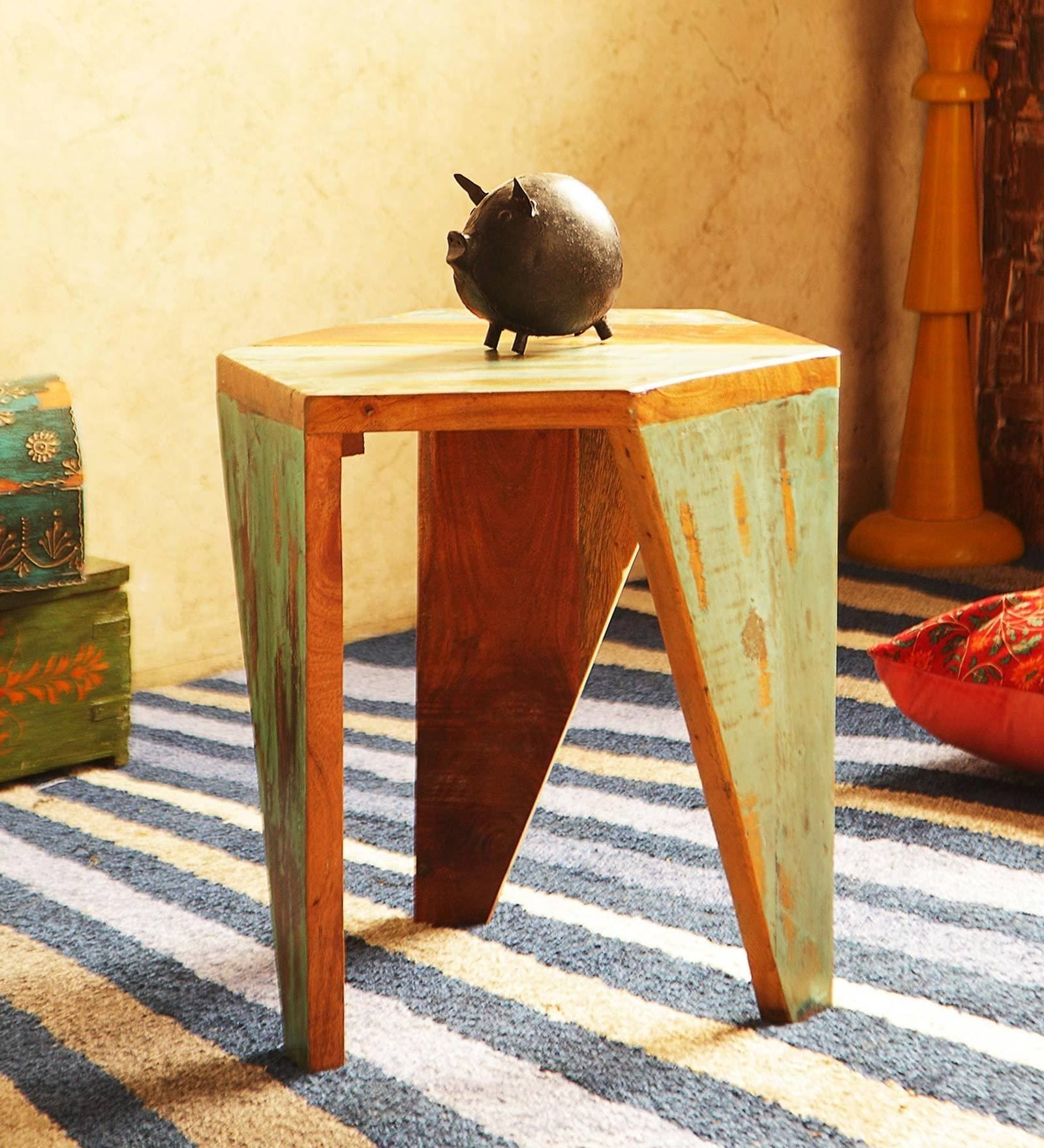 Arika Solid Wood End Table In Distress Finish By Bohemiana In 2020 Wood End Tables End Tables Funky Furniture