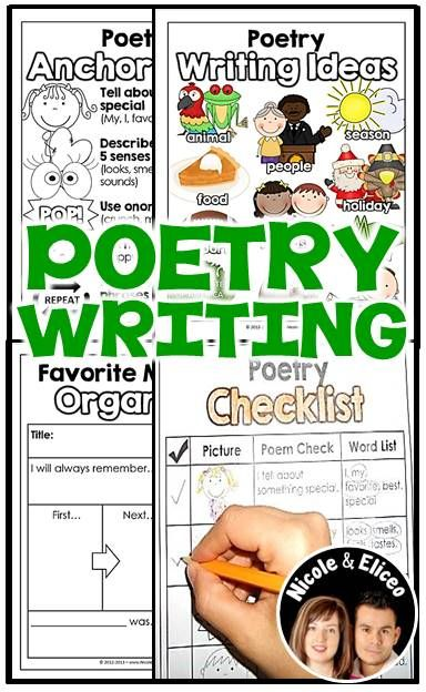 Poetry Writing Toolkit - great resources for literacy centers & writers workshop. Includes writing ideas, anchor chart, writing checklist, graphic organizers, stationary & more! (English & Spanish)