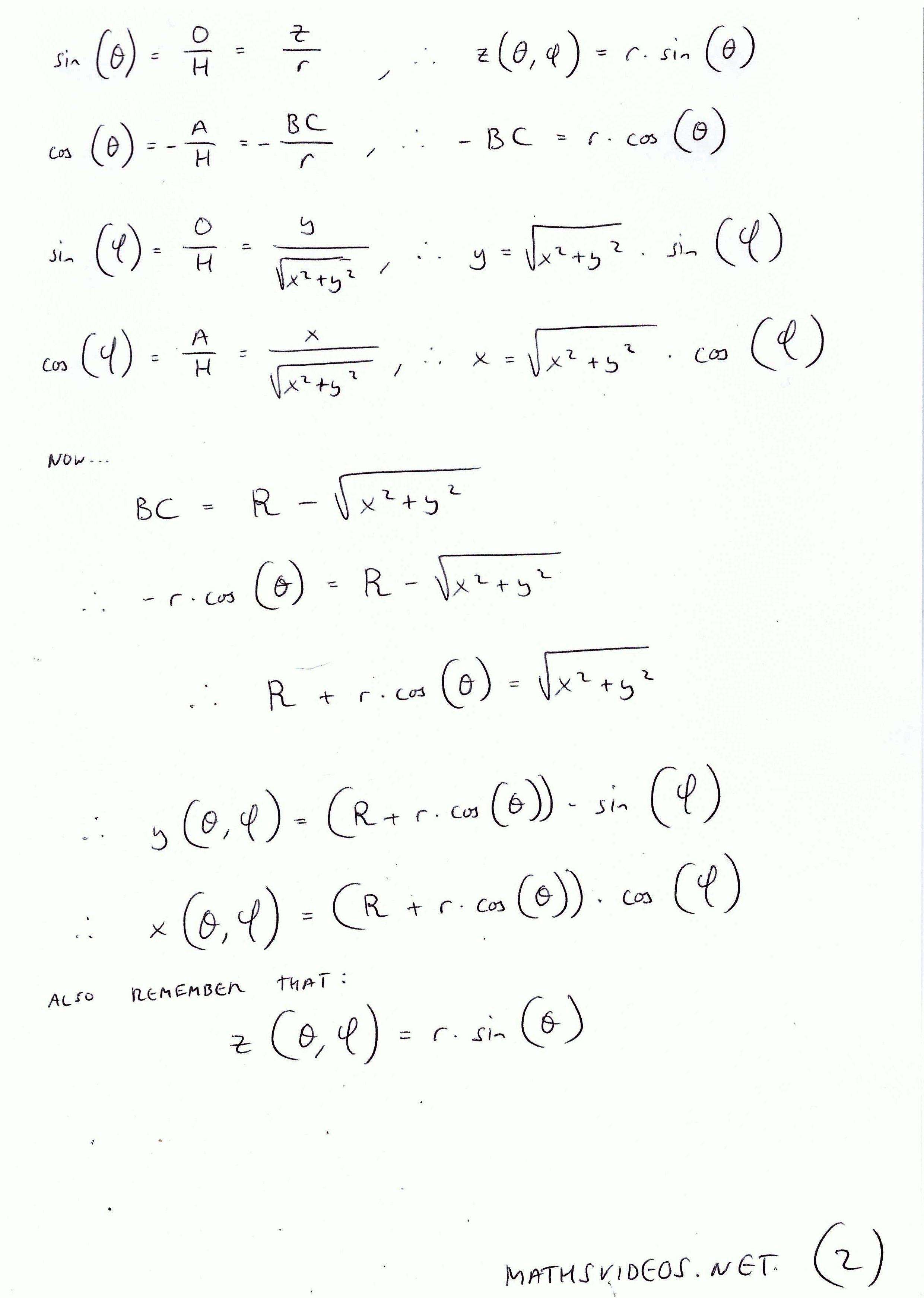 Parameterised Formula For A Torus Derivation 02