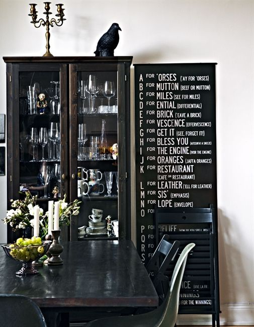 Black And White Dining Room Houses Homes Liquor Cabinet With Cryptic Bar Menu On Blackboard