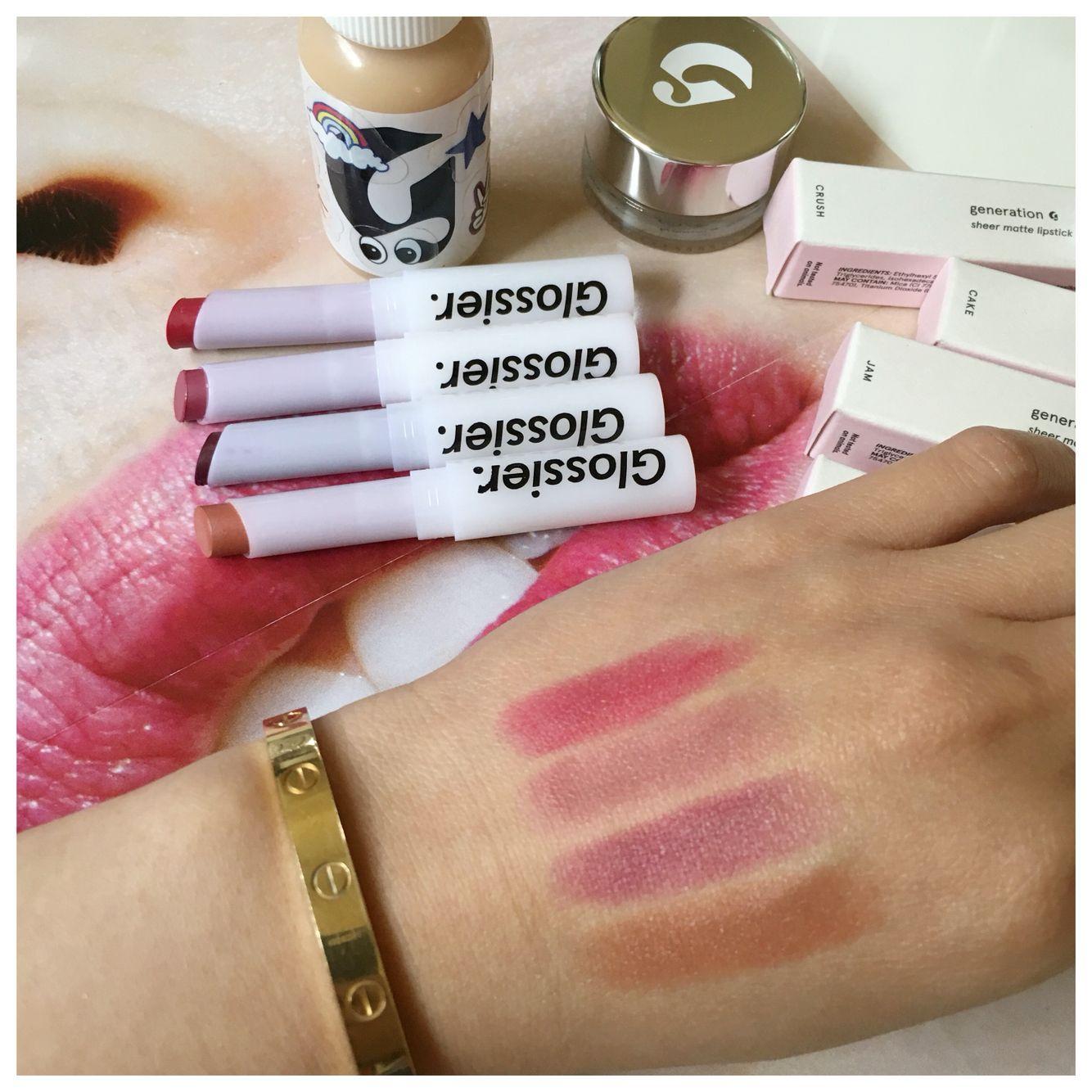 Glossier Generation G Sheer Matte Lipsticks. Crush, Like