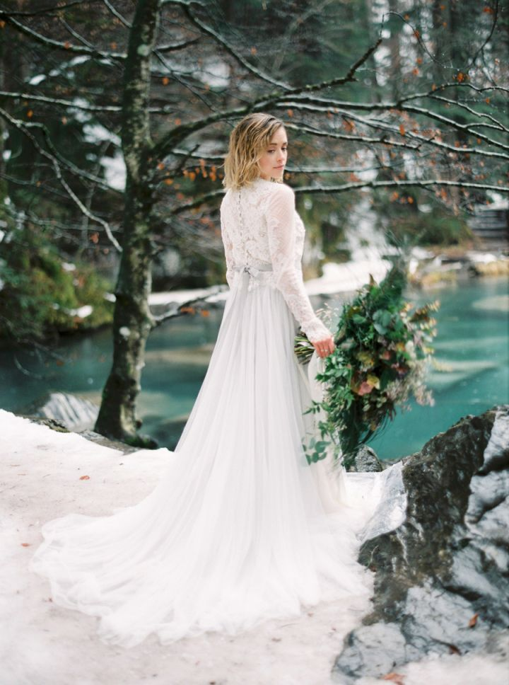 Gorgeous long sleeve wedding dress , winter wedding gown,light grey wedding dress