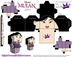 disney�s mulan in her purple dress cubeecraft free