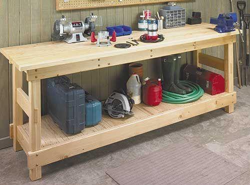 Plank Top Workbench Woodworking Plan Garage Work Bench Garage