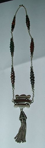RARE Victorian Silver Scottish Agate Panelled Tassel Necklace in EX Cond